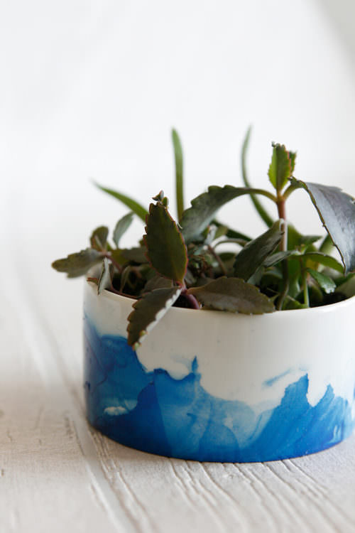 DIY Marble Dipped Planter